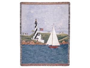 "Coastal Breeze Nautical Theme Folk Art Tapestry Throw Afghan 50"" x 60"""