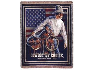 """Beginning Trail"" Cowboy Saddle American Flag Tapestry Throw Blanket 50"" x 60"""