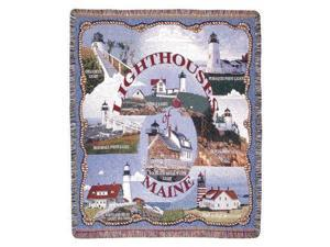 """Lighthouses of Maine"" Tapestry Throw Blanket 50"" x 60"""