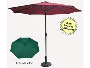 9' Solar Powered Outdoor Patio Umbrella with Hand Crank - Hunter Green