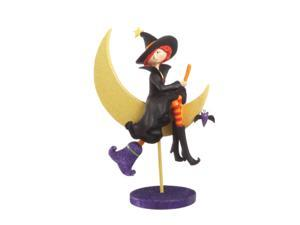 "12"" Glittered Flying Witch with Crescent Moon Table Top Halloween Decoration"