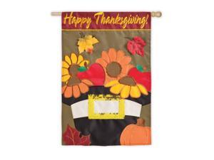 "Autumn Harvest Pilgrim's Hat Thanksgiving Fall Flag 29"" x 43"""