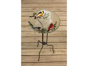 Metallic Song Bird Glass Bowl Bird Bath 18""