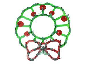 """15"""" Lighted Wreath with Bow and Red Berries Christmas Window Silhouette Decoration"""