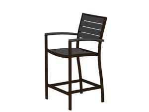 "41"" Earth-Friendly Recycled Patio Counter Chair - Slate Gray with Bronze Frame"