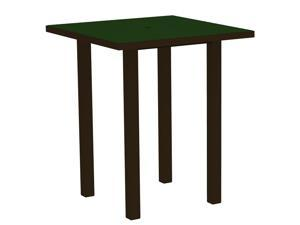 "36"" Recycled Earth-Friendly Square Bar Table - Green with Bronze Frame"