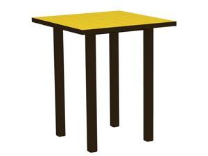 "36"" Recycled Earth-Friendly Square Bar Table - Lemon Yellow with Bronze Frame"