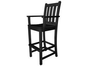 "47.75"" Recycled Earth-Friendly Patio Garden Dining Bar Arm Chair - Black"