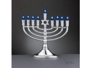 "16"" Lighted Silver Chanukah Menorah with Blue and White Flame Tip C7 Bulbs"
