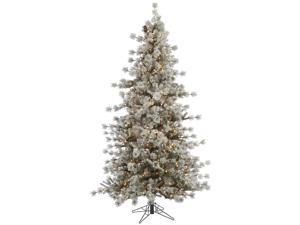10 Slim Pre Lit Flocked Anchorage Artificial Christmas Tree