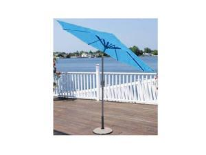 9' Outdoor Patio Market Umbrella with Hand Crank and Tilt - Turquoise Blue
