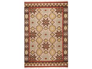 3.5' x 5.5' Four Corners Southwest Tan Red and Brown Hand Woven Wool Area Throw Rug
