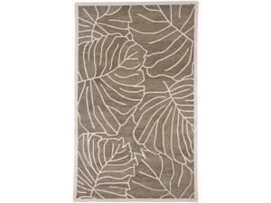 9' x 13' Leaf Me Alone Mushroom and Antique White Wool Area Throw Rug