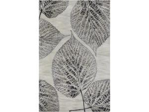 8' x 11' Expressive Elm Leaf Castlerock Gray and Silver Birch Hand Tufted Wool Area Throw Rug