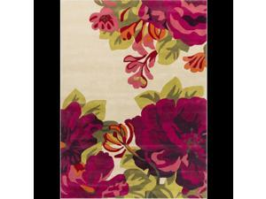 8' x 11' Flourishing Abstract Magenta, Hot Pink, Lime Green and Beige Wool Area Throw Rug