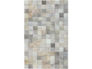 5' x 8' Eclectic Squares Taupe, Beige and Gray Hand Crafted Leather Area Throw Rug