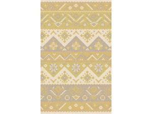 2.5' x 8' Southwestern Naive Alabaster Gleam and Custard Yellow Hand Woven Area Throw Rug Runner