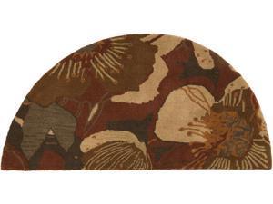 2' x 4' Amaranth Dark Chocolate Brown and Gold Hearth Wool Area Throw Rug