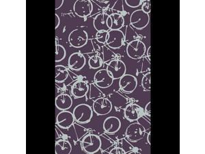 8' x 11' On the Go Bicycle Eggplant Purple and Pale Blue Wool Throw Area Rug