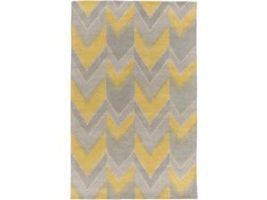 8' x 11' Native Gallone Sunshine Yellow and Dove Gray New Zealand Wool Area Throw Rug