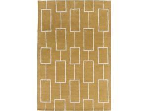 8' x 10' Parallel Lanes Goldenrod and Cream Hand Carved Area Throw Rug