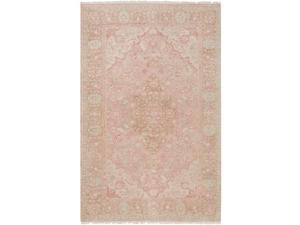 5.5' x 8.5' Archaic Beauty Beige, Carnation and Salmon Pink New Zealand Wool Area Throw Rug