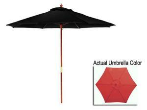 9' Outdoor Patio Market Umbrella - Light Burgundy and Cherry Wood