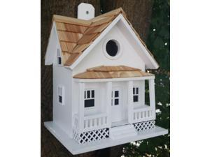 "10"" Fully Functional White Beach Side Cottage Outdoor Garden Birdhouse"