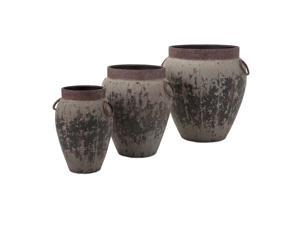 Set of 3 Ancient Temple Gardens Rustic Gray Flower Planters with Circle Handles 22""