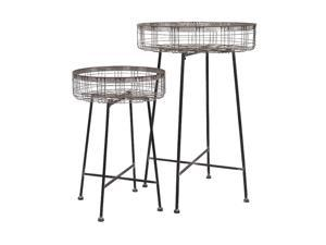 Set of 2 Country Rustic Black and Silver Wire Round Flower Plant Stands 43.75""