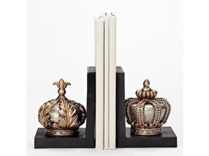 Set of 2 Decorative Gold Crown Bookends 7.75""