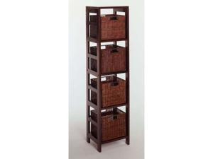 Espresso Leo 5 Piece Storage Shelf with Basket Set Shelf with 4 Small Baskets