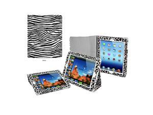 Apple iPad 3 Animal Print Folding Stand Case with Free Screen Protector and a andom 6 piece set of Button Stickers (Zebra ...