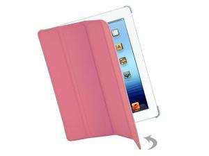 Premium Apple iPad 3 Ribbed Leatherette Hybrid Smart Case with Screen Guard and Button Sticker (Pink)
