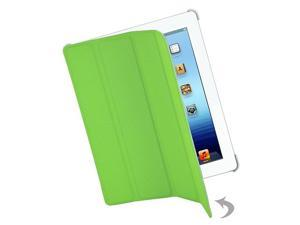 Premium Apple iPad 3 Ribbed Leatherette Hybrid Smart Case with Screen Guard and Button Sticker (Green)