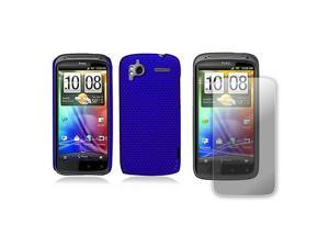 HTC Sensation 4G Perforated Mesh Rubberized Hard Case and Screen Protector (Blue) - OEM