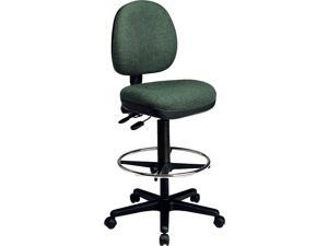 Deluxe Ergonomic Drafting Chair w Tilting Back & Upholstered Seat (Grey in Gavotte Pattern)
