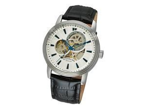 Stuhrling Original Delphi Acheron Men's Silver Dial Leather Strap Analog Watch 1076.33152