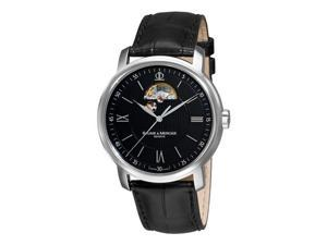 Baume & Mercier Classima Mens Black Leather Strap Black Open Dial Stainless Steel Automatic Watch 8689
