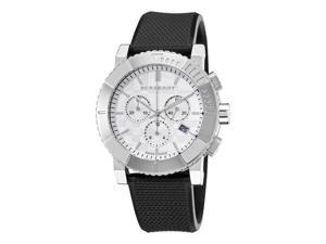Burberry Round Chronograph Mens Black Rubber Strap Watch BU2300