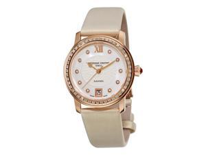 Frederique Constant Ladies Automatic White Satin Strap Diamond Watch FC-303WHD2PD4