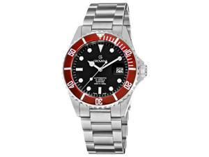 Grovana Mens Diver Black Dial Red Bezel Automatic Watch