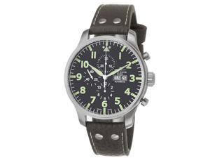 Zeno Mens Giant Black Dial Brown Leather Strap Chronograph Watch 10557-A1-DECK