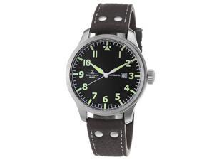 Zeno Mens Pilot Black Dial Brown Leather Strap Automatic Watch 8554-A1-DECK
