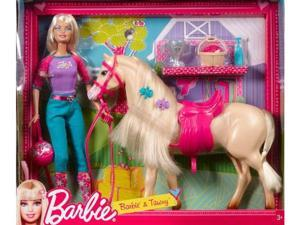Mattel Barbie Doll and Tawny Horse Playset