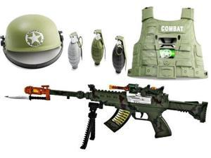Toy Gun with Bipod, Sounds, Lights, and vibrations, Combat Army Helmet, SWAT Vest Toy Guns COMBO, 3 Realistic sounding and ...