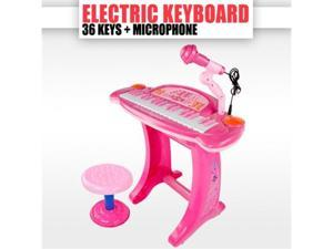 Kids Children Electric Piano Toy Karaoke Music Keyboard PINK Kids Keyboard with Microphone
