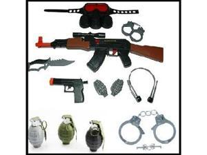 Kids AK47 Swat Set with tons of accessories + 3 Realistic Sounding, Ticking, and Exploding Grenades + Stainless Steel Metal ...