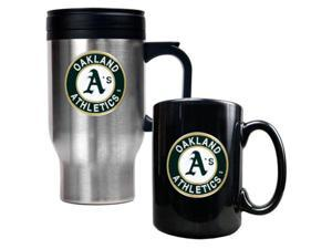 Oakland Athletics MLB Stainless Steel Travel Mug & Black Ceramic Mug Set - Primary Logo