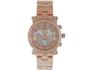 Aqua Master Men's Round Diamond-Cut Watch with Two Row Diamond Bezel, 2.25 ctw